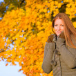Autumn sunset park - red hair woman fashion — Stock Photo #4694067