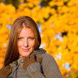 Autumn sunset park - red hair woman fashion — Stock Photo #4694070