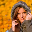 Autumn sunset park - red hair woman fashion — Stock Photo #4694077