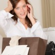 Woman on phone - back home from shopping — Stock Photo