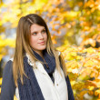 Autumn park - fashion model woman — Stock fotografie