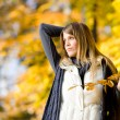 Autumn park - fashion model woman — Stock Photo