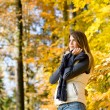 Autumn park - fashion model woman relax — Stock Photo