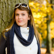 Autumn park - fashion woman with sunglasses — Stock Photo