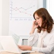 Successful businesswoman at office on phone — Stock Photo