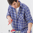 Home improvement - handyman cut tile — Stock Photo