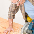 Home improvement - handyman cut wood with jigsaw — Stock Photo #4695242