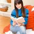 Teenager girl home - student read book — Stock Photo #4695324