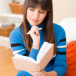 Teenager girl home - student write homework — Stock Photo #4695327