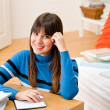 Teenager girl home - student write homework — Stock Photo #4695332