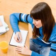 Teenager girl home - student write homework — Stock Photo #4695337