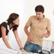 Young man and woman working at architect office — Stock Photo #4695625