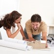 Young man and woman working at architect office — Stock Photo #4695627