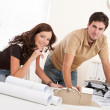 Young man and woman working at architect office — Stock Photo #4695635
