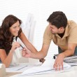 Man and woman at architect office — Stock Photo