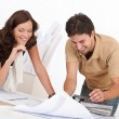Man and woman at architect office working — Stock Photo