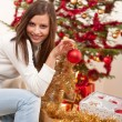 Young woman with Christmas decoration — Stock Photo
