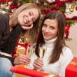 Two young woman with champagne on Christmas - Stock Photo