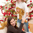 Two smiling women with Christmas decoration — Stock Photo