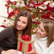Two smiling women with Christmas present — Stock Photo #4695874