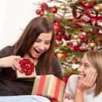 Two smiling women unpacking Christmas present — Stock Photo #4695878