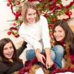 Three cheerful women having fun on Christmas — Stock Photo #4695895