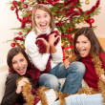 Three cheerful women having fun on Christmas — Stock Photo #4695896