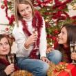 Three young women having fun on Christmas — Stock Photo #4695899