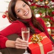 Smiling woman with Christmas present and glass of champagne — Stock Photo #4695969