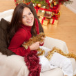 Attractive young woman with Christmas decoration — Stock Photo #4695979