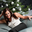 Provocative sexy woman posing in front of Christmas tree — Stock Photo #4696042