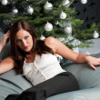 Provocative sexy woman posing in front of Christmas tree — Stock Photo #4696045