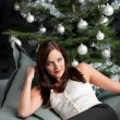 Provocative sexy woman posing in front of Christmas tree — Stock Photo