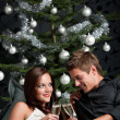 Stock Photo: Young extravagant man and woman with champagne on Christmas