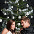 Royalty-Free Stock Photo: Young extravagant man and woman with champagne on Christmas