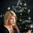 Sexy blond woman on Christmas — Stock fotografie