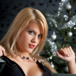 Portrait of blond sexy woman in black dress on Christmas in fron — Stock Photo