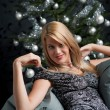 Provocative woman posing in gray dress — Stock Photo