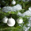Silver decorated Christmas tree with balls and chains — Foto de Stock