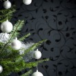 Stock Photo: Silver decorated Christmas tree with balls and chains