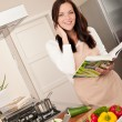 Smiling woman holding cookbook in the kitchen — Stock Photo #4696317