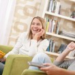 Stock Photo: Students - Two female teenager watching television