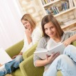 Students - Two female teenager studying — Stock Photo