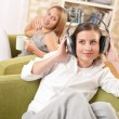 Students - Two female teenager relaxing in lounge — Stock Photo #4696600