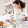 Female interior designer working at office — Stock Photo