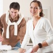 Two interior designer working at office with color swatch — Stock Photo #4698453