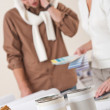 Two interior designer working at office with color swatch — Stock Photo #4698455