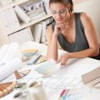 Female interior designer working with color swatch — Stock Photo #4698499