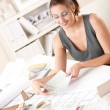 Female interior designer working with color swatch — Stock Photo #4698526