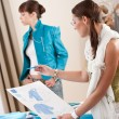 Fashion model trying turquoise jacket in designer studio — Stock Photo #4698646